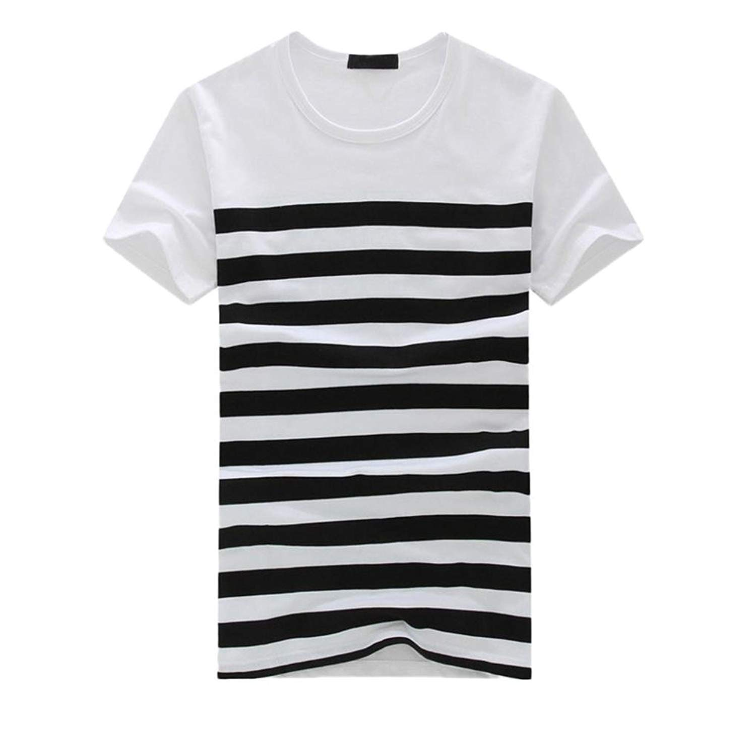 Challyhope Mens T-Shirt, Fashion Boys Summer Short Sleeve Tops Stripe Contrast Color Stripe Splice Casual Tees