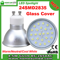 4.5W LED spotlight GU10/MR16/E27/E14 Epistar Chip SMD 2835/Aluminium body&PCB+glass cover/110v/12v