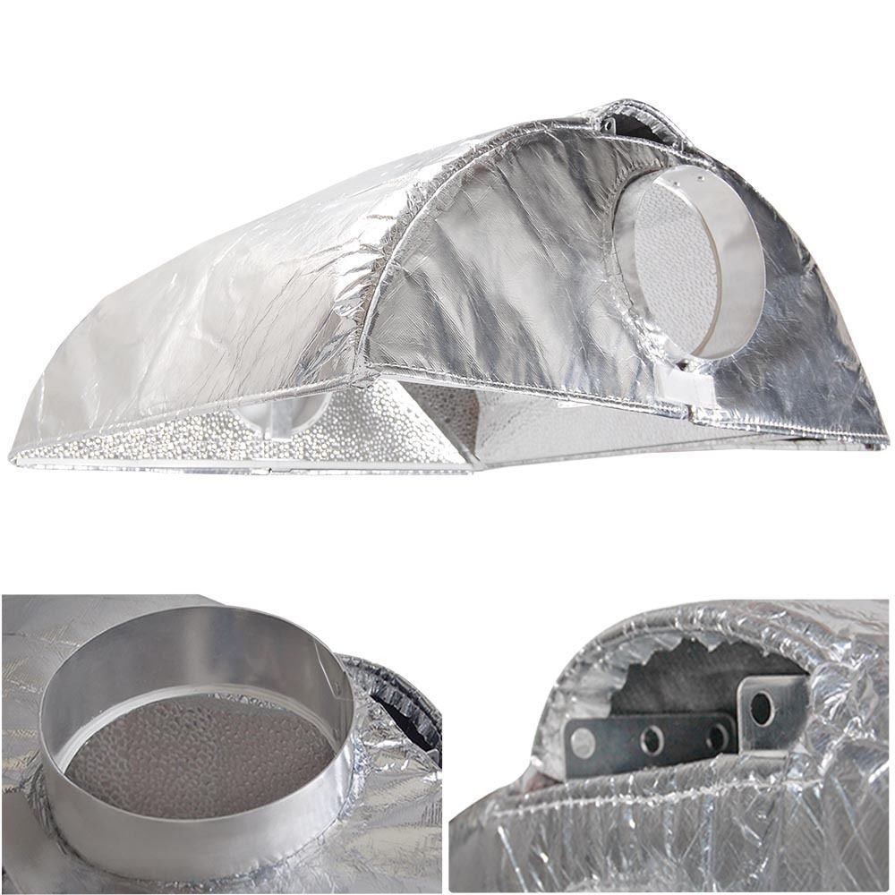 """GHP Hydroponics 8"""" Plant Grow Light Hood Vent Air Cooled Reflector Cover Shield"""