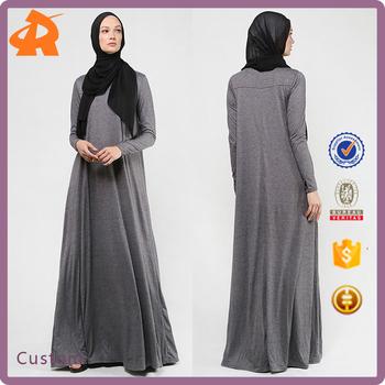 Latest Dubai Abaya Designs 2017 High Neck Cotton Women Islamic Abaya