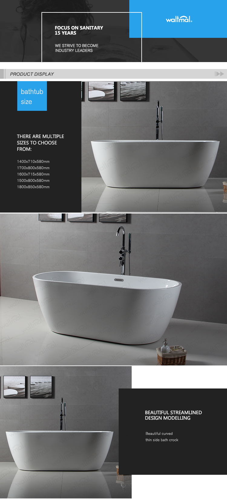 Oval Shape Acrylic with Fiberglass Freestanding Bath Tub