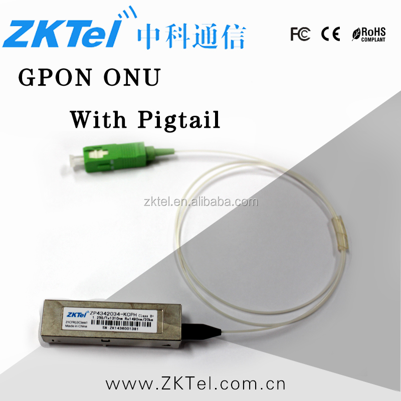 Single fiber 1000 BASE 1.25Gbps upstream 2.5Gbps downstream 20km GPON ONU SFP with pigtail