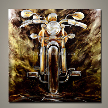 Handmade Modern Golden Motorcycle Metal Abstract Wall Art For Home ...