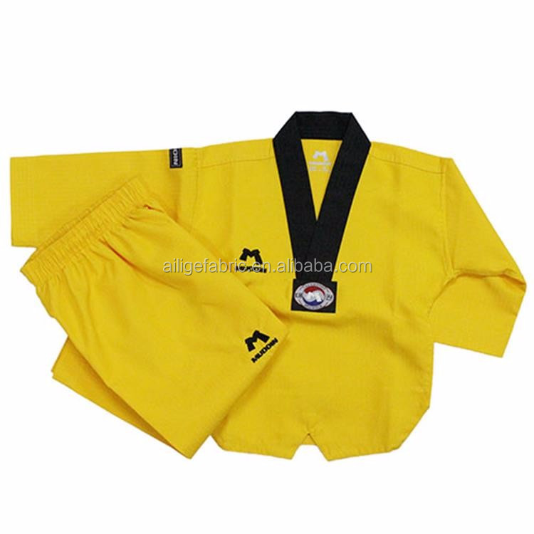 China fabric Bruce Lee style Yellow Karate Costume with bottom price