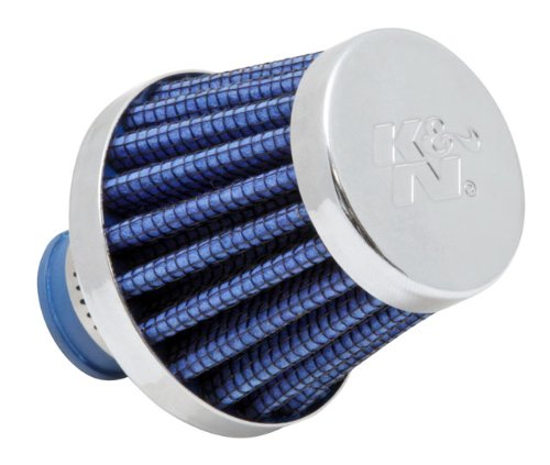 K&N 62-1600BL Vent Air Filter / Breather: Vent Air Filter/ Breather; 0.375 in/0.5 in (10 mm/13 mm) Flange ID; 1.75 in (44 mm) Height; 2 in (51 mm) Base; 2 in (51 mm) Top