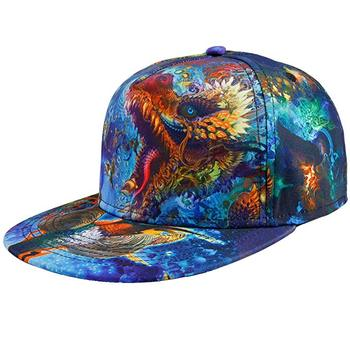 Wholesale Custom All Over Print Flat Brill Dragon boy Snapback cap