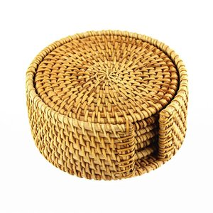 Hand-woven Rattan Coasters With Multipurpose Coaster Holder, Exotic Handmade Teacup coasters, Creative Gift
