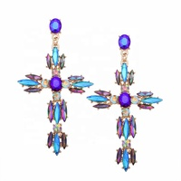 Wholesale Multi-color Statement Unique Drop Earrings Geometric Gemstone Crystal Big Cross Dangling Earring