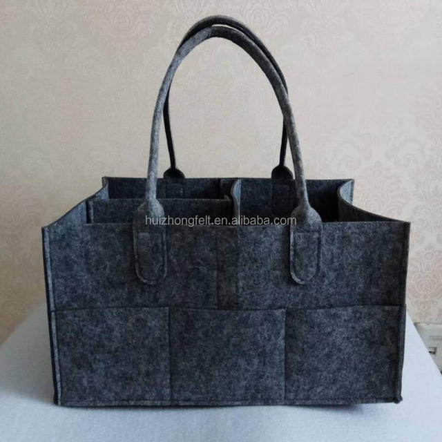 Customized Grey Felt Baby Diaper Bag