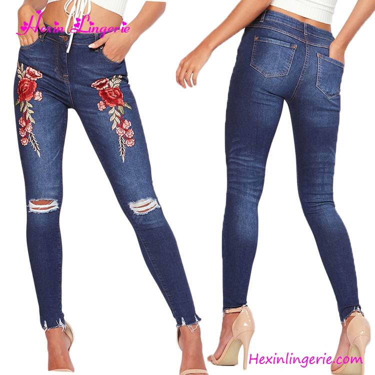 Wholesale Fashion Pants Dark Blue Ripped Embroidery Ladies Jeans