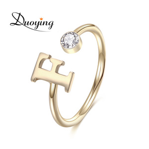 Birthstone Letter Open Rings Personalized A-Z Small Copper alloy jewelry Tiny Custom Initial Alphabet Latest Gold Ring Design