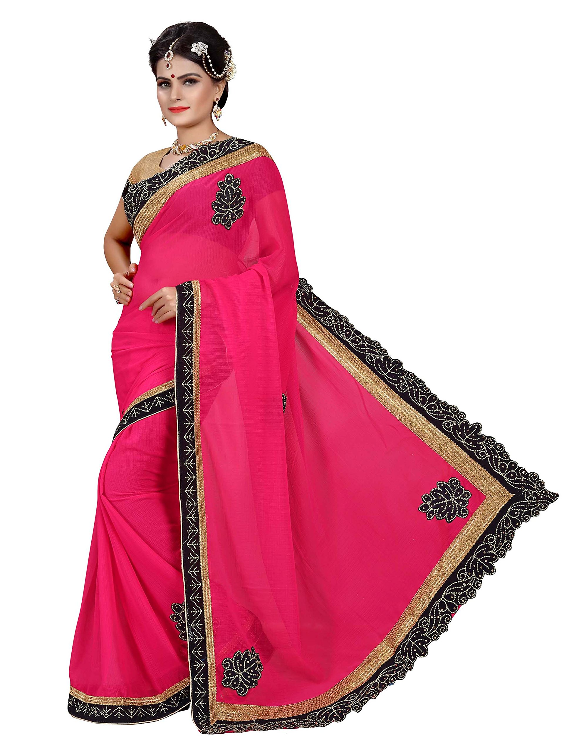 744feae12bbe2 Women s Party Wear Butti   Patch Work Half   Half Saree With Unstitched  Blouse