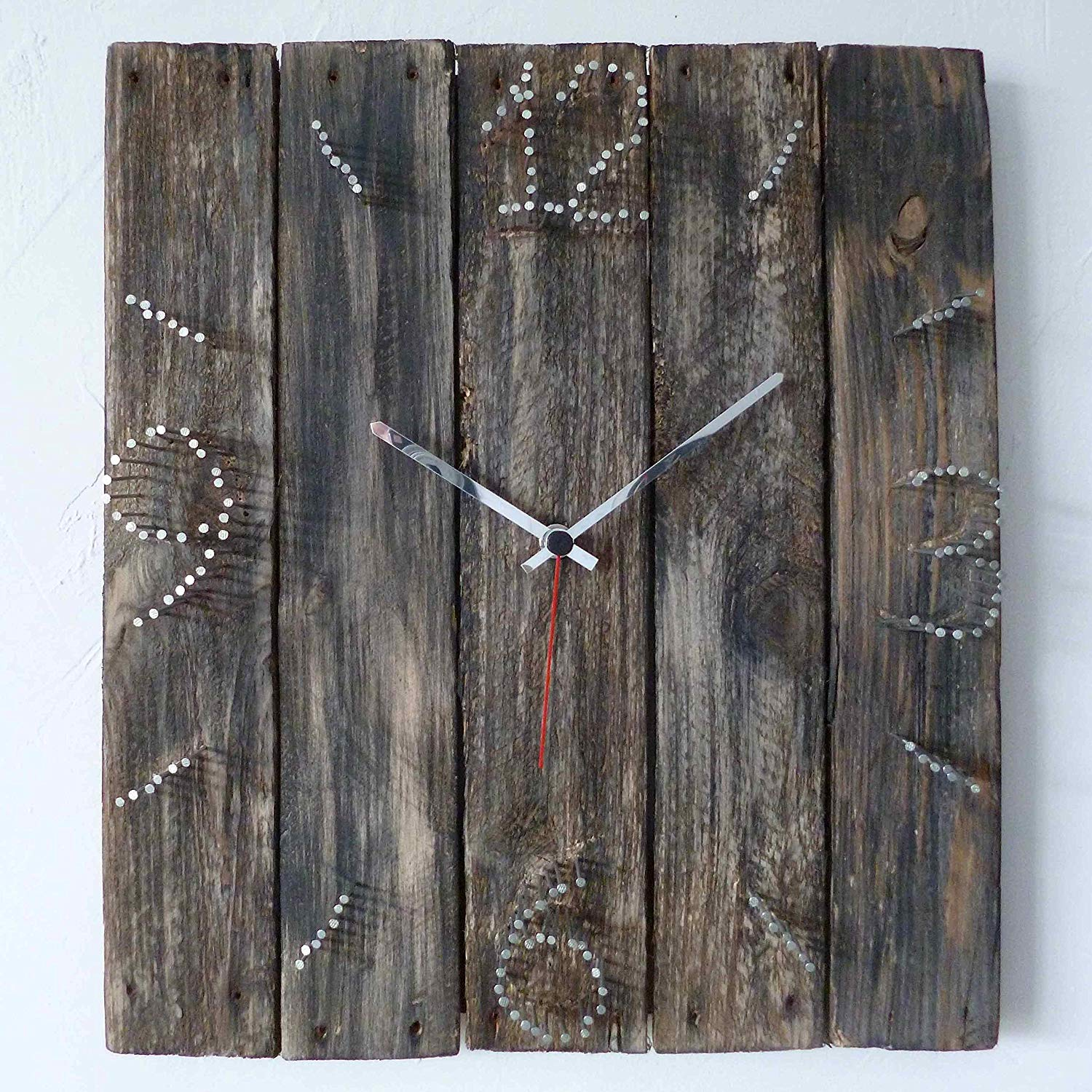715108ecaf6 Get Quotations · Large Decorative Wall Clock 15-inch - Wood Rustic Original  - Silent Non Ticking Quartz