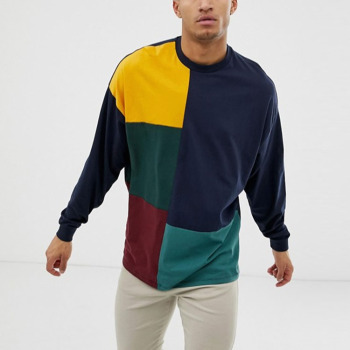 Custom Men Long Sleeves Color Combination T Shirts for men clothing