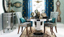 lurxury mirrored round dining table