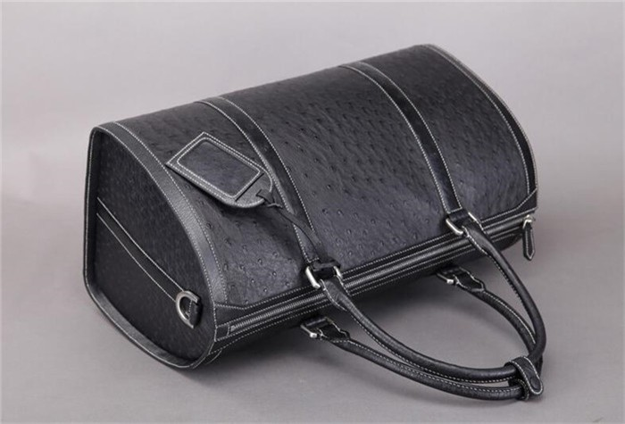 High quality men travel bag real ostrich leather casual duffle bag manufacturers