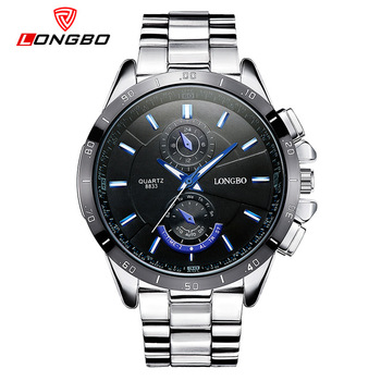 Longbo brand 8833 high quality all stainless steel waterproof quartz watch men's hand watch relojes hombre