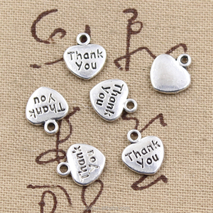 12mm Heart charms Antique Tibetan silver Mini Heart Thank You Charms Pendant