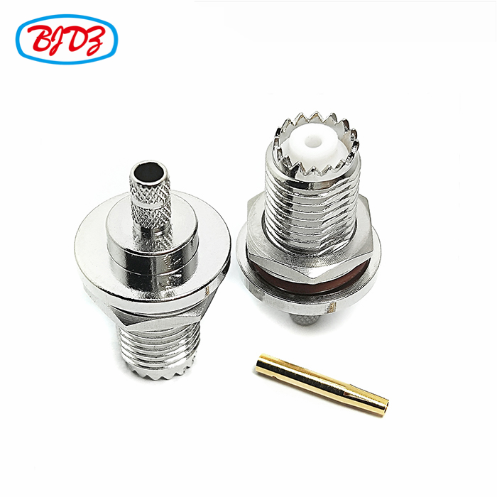 Rf coaxial connecter Bulkhead mounted female / jack mini UHF connector for cable RG58 LMR195