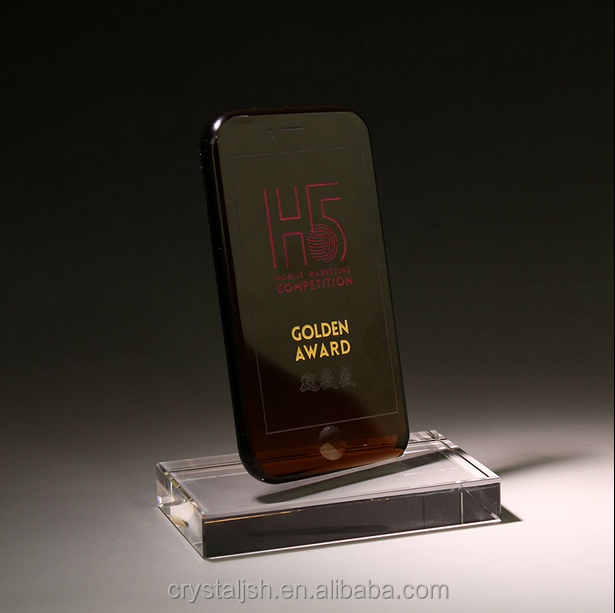 wholesale new design red handphone crystal trophy award