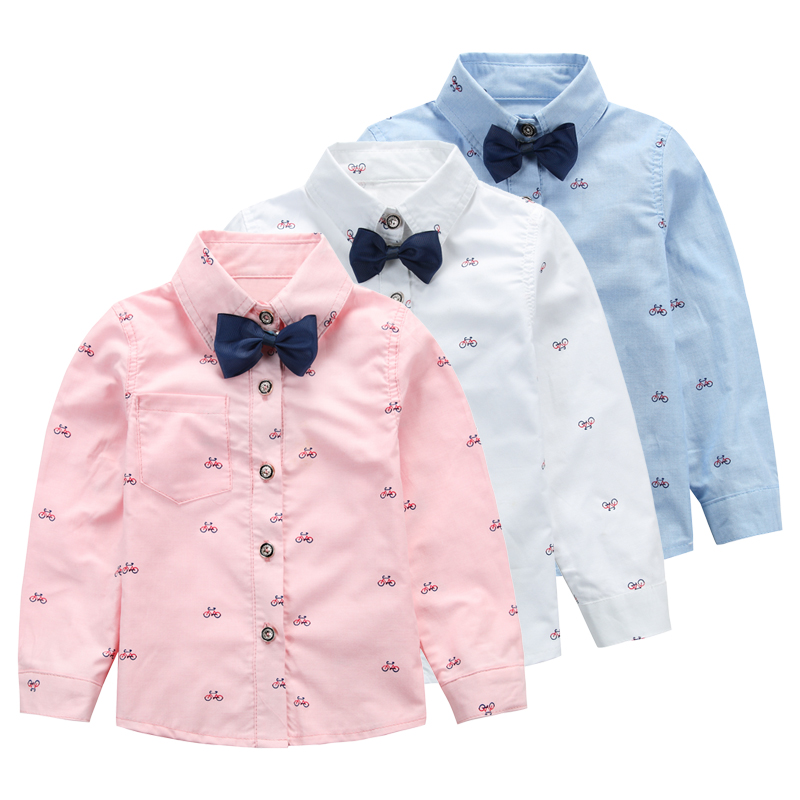 Male child long-sleeve shirt children's clothing 2015 spring and autumn baby School style top child shirt belt bow tie