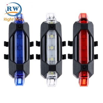 Wholesale Bicycle Parts Portable USB Rechargeable Bike Tail Rear Safety Warning Light