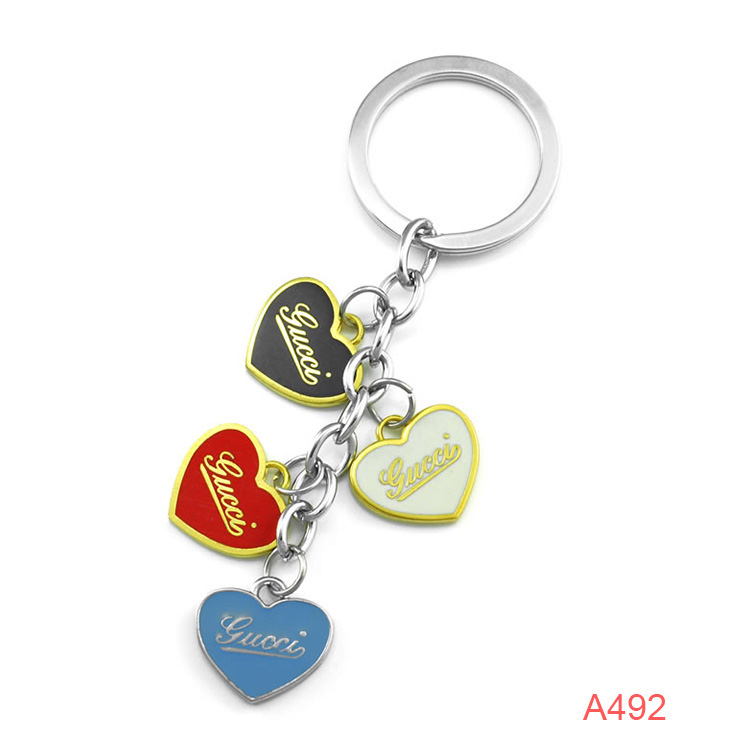 A492 Customize Logo Glod Heart Key chains For Lover