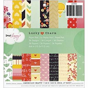 American Crafts 35990 American Crafts Paper Pad 6X6 36/Pkg-Dear Lizzy - Lucky Charm