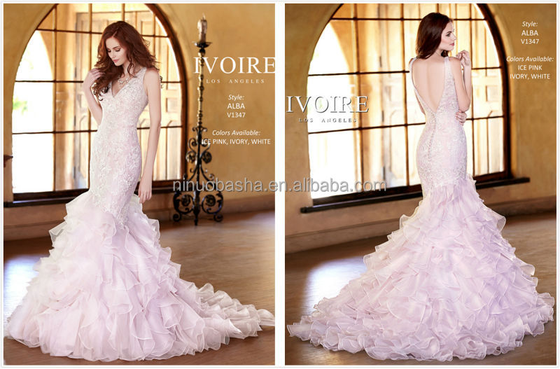 High Quality 2014 Kitty Chen Long Mermaid Tail Lace Wedding Dress Pink V-Neck Backless Ruffled Skirt Organza Bridal Gown NB0570