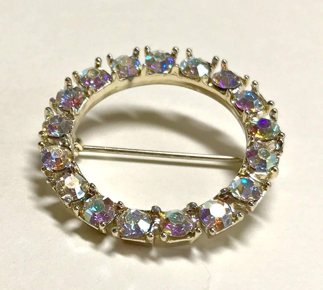Vintage aurora borealis rhinestone circle brooch or pin, crystal brooch, rhinestone brooch, mid century modern brooch