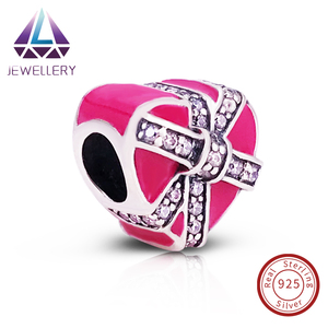 Manufacturer Professional 925 Sterling Silver Gifts of Love,Magenta Enamel Amp Clear CZ For DIY Jewelry Making Wholesale