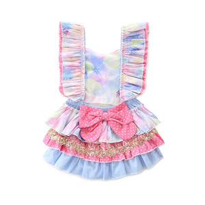 Hot summer ins children's wind sleeveless coloured harness baby girl