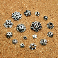 Antique silver macrame thread bead caps