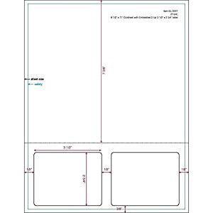 """3-1/2"""" x 2-3/4"""" (3.5"""" x 2.75"""") Integrated Laser Label Form Sheets, 2 Up Labels (Lot of 250)"""
