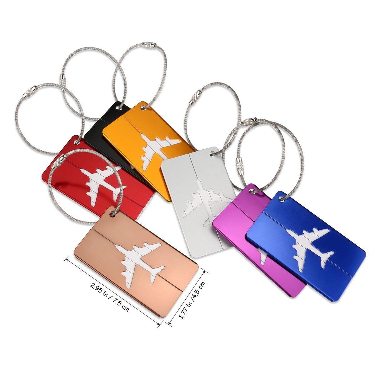 NUOLUX Luggage Tag Suitcase Bag Tag Handbag ID Tag with Key Ring 8pcs
