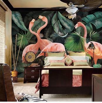 Custom Stereo Hand Painted Flamingo Wallpaper Restaurant Children Room Zoo Lounge Mural
