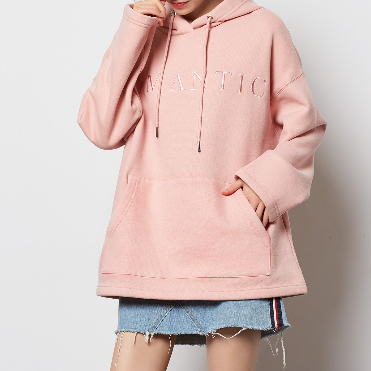 bright colored front open sweatshirt ladies embroidered hoodie