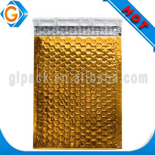 large self seal custom printed gold colored metallic foil bubble mailer padded envelope bubble bags