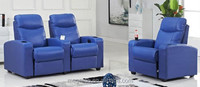 Blue leather cinema sofa sets modern home furniutre (FOH-001)