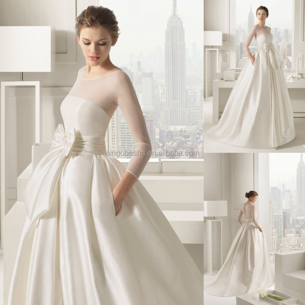 2015 Designer Wedding Gowns: 2015 Chic Ivory Ball Gown Wedding Dress Long Sleeve Sheer