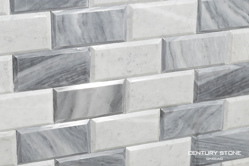 Bianco White Carrara Marble Mix Milano Gray Beveled Brick Subway