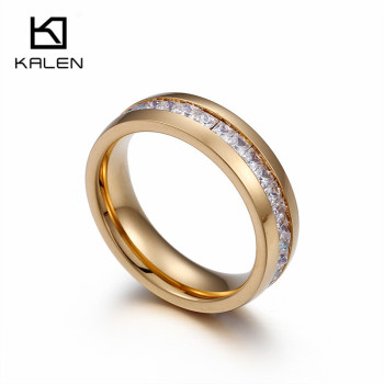 Kalen Minimalist Cheap 18k Gold Plated Stainless Steel Clear Glass Round Rings For Women