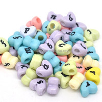 Factory Price Fashion 12MM Cute Heart Plastic Letter Charm Alphabet Beads For Bracelet Jewelry