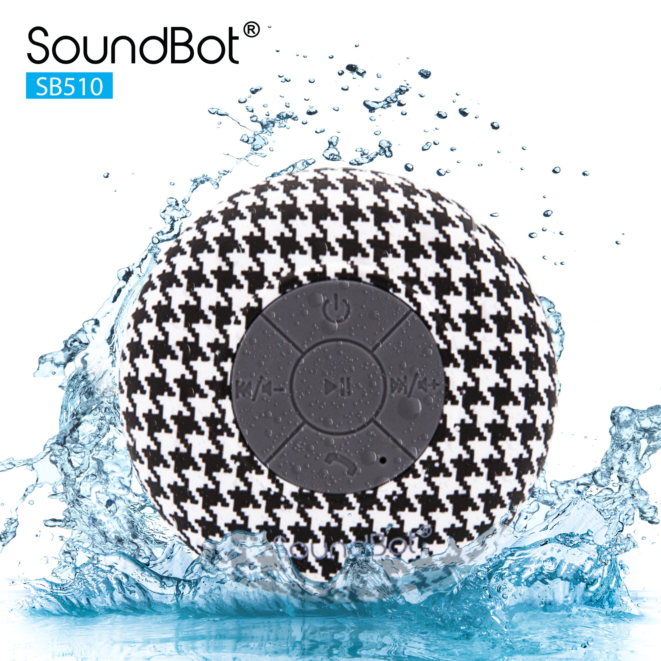 SoundBot® SB510 HD Water Resistant Bluetooth Wireless Shower Speaker, Hands-Free Portable Speakerphone w/ 6Hrs of Playtime, Built-in Mic, Control Buttons & Detachable Suction Cup for Indoor & Outdoor