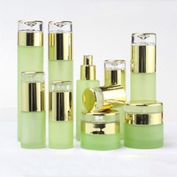 Spray Bottle Empty Green Glass Cosmetic Container Refillable Bottle Cream Jar Lotion Pump Emulsion Bottle 20/30/50g 120/100/60ml