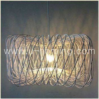 Rattan Hanging Pendant Lamp Glass Pendant Lamp Red