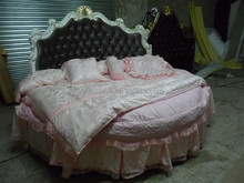 French baroque rococo round bed with high head board