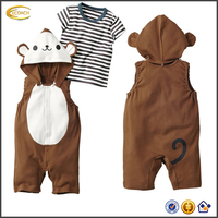Ecoach traditional kids clothing sets custom two pcs striped short sleeves t shirts cartoon baby boys romper sets with hooded