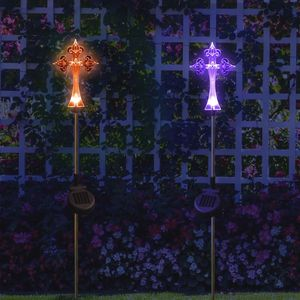 Solar Powered Cross Yard Garden Stake Color Changing LED Lights
