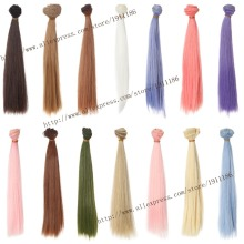 25cm 100cm Doll Wigs BJD SD doll hair DIY High temperature Wire Many colors Straight hair